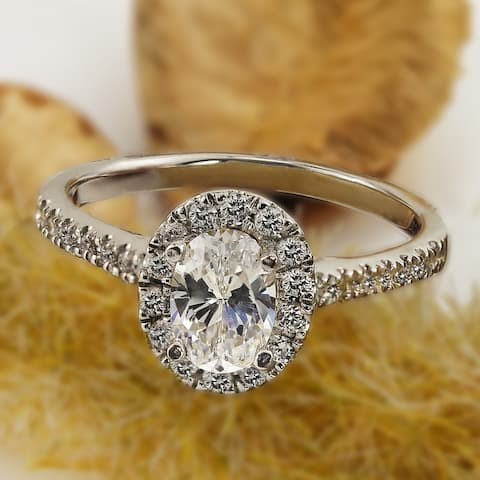 Auriya 18k Gold 1ctw Oval-cut Halo Diamond Engagement Ring