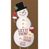 40 in. Lighted Whimsical Snowman Let it Snow Christmas Yard Art