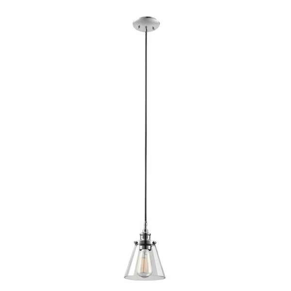 """Globe Electric 65381 1-Light 6.5"""" Wide Pendant with Clear Glass Shade - Chrome - n/a"""