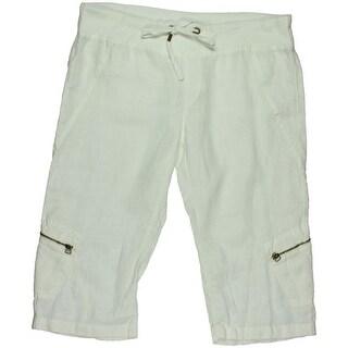 XCVI Womens Linen Solid Capri Pants