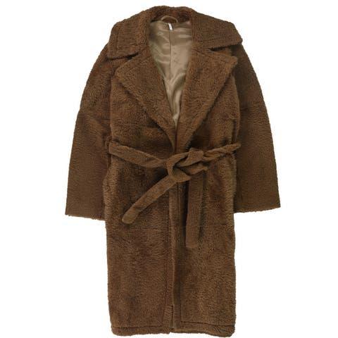 Helmut Lang Womens Belted Shearling Coat