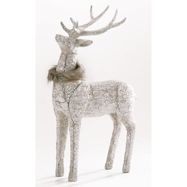"""16.5"""" Glittered Natural Ivory Deer with Faux Fur Collar Christmas Tabletop Figure"""