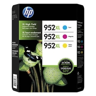 HP 952XL High-Yield Ink Cartridge Assorted Colors 3pk (N9K30BN) - Black