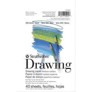 Strathmore 200 Top Tape Binding Acid-Free Light-Weight Drawing Pad, 70 lb, 5-1/2 X 8-1/2 in, 40 Sheets