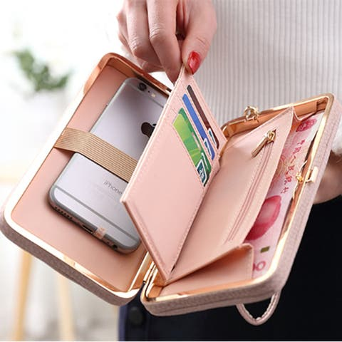 Gg - Bowknot Wallet Clutch With Smartphone Holder In 8 Colors