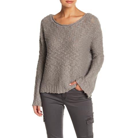 Roxy Heather Gray Size Medium M Junior Boatneck Ribbed Hem Sweater