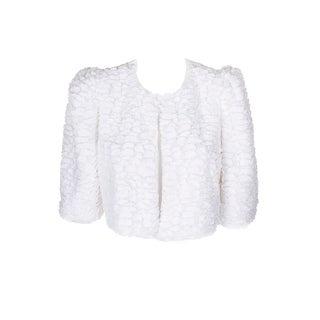 Calvin Klein White Faux-Fur Neck Closure Shrug L