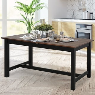 HomCom Expandable Folding Kitchen Dining Table with Elegant Natural Wood Design & Sturdy Construction