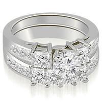 3.10 cttw. 14K White Gold Channel Princess and Round Cut Diamond Bridal Set
