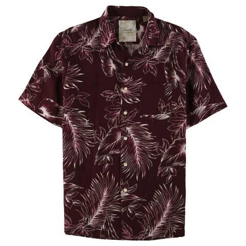 Tasso Elba Mens Leaf Silk Linen Button Up Shirt, Red, Small