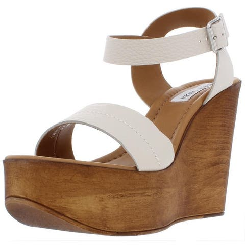 34b9fc3da Steve Madden Womens Belma Wedge Sandals Leather Ankle Strap. Was.  54.99.   5.50 OFF. Sale  49.49