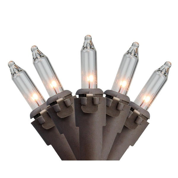 """Set of 300 Clear Mini Christmas Lights 2.5"""" Spacing - Brown Wire"""