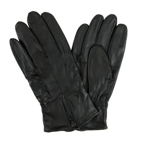 CTM® Men's Leather Fleece Lined Glove with Zipper