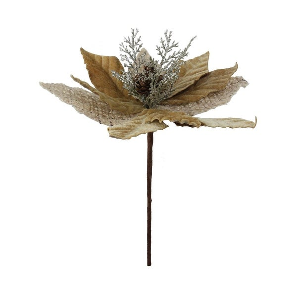 """12"""" Brown Burlap Sparkling Grey Branch with Glittered Pine Cone Center Spray"""