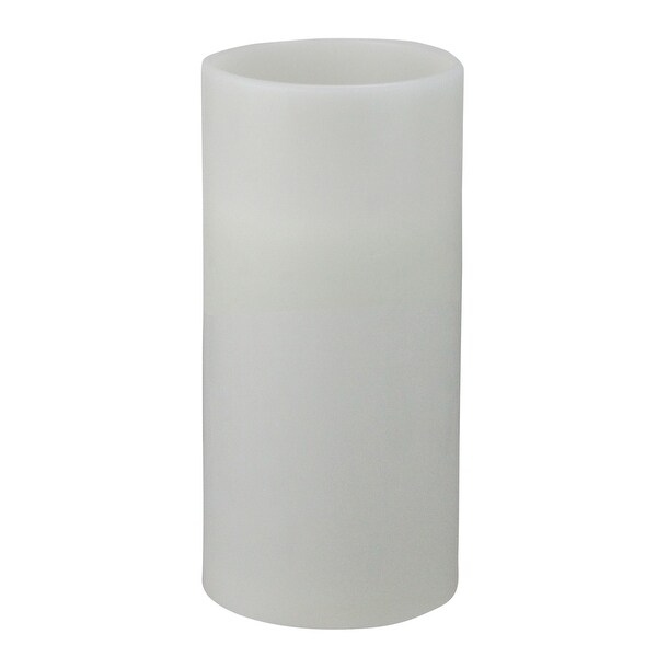 """12"""" White Battery Operated Flameless LED Lighted 3-Wick Flickering Wax Christmas Pillar Candle - N/A"""