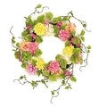 "22"" Decorative Pink and Yellow Mum and Wild Blossom Artificial Floral Wreath - Unlit - Thumbnail 0"