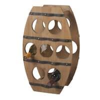 "22.25"" Country - Rustic Wooden Barrel Design Wine Rack - 7 Bottle Storage - Brown"