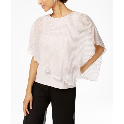 MSK Women's Blouse Pink Size Small S Metallic Dot Pleated Popover