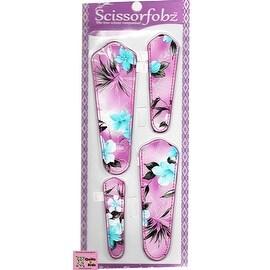SCISSORFOBZ- Scissor sheaths / Scissor covers w/SCISSORGRIPPER-Purple floral print-#S-45