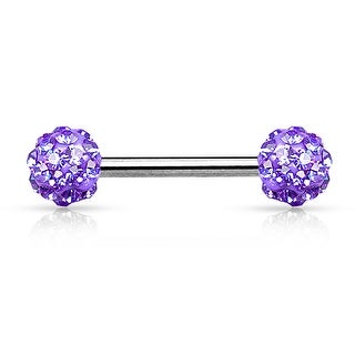 Crystal Paved Ferido Balls 316L Surgical Steel Nipple Bar (Sold Individually)