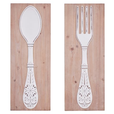 """Carved Wood Wall Decor With Distressed White Fork And Spoon Center Set Of 2 12"""" X 31.5"""""""