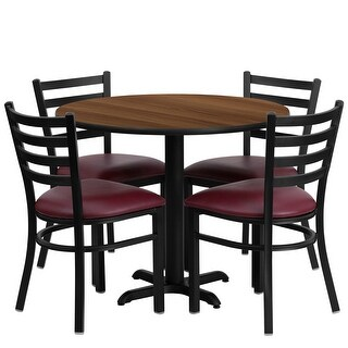 "Dyersburg 5pcs Table Set Round 36"" Walnut X-Base, Burgundy Chair"