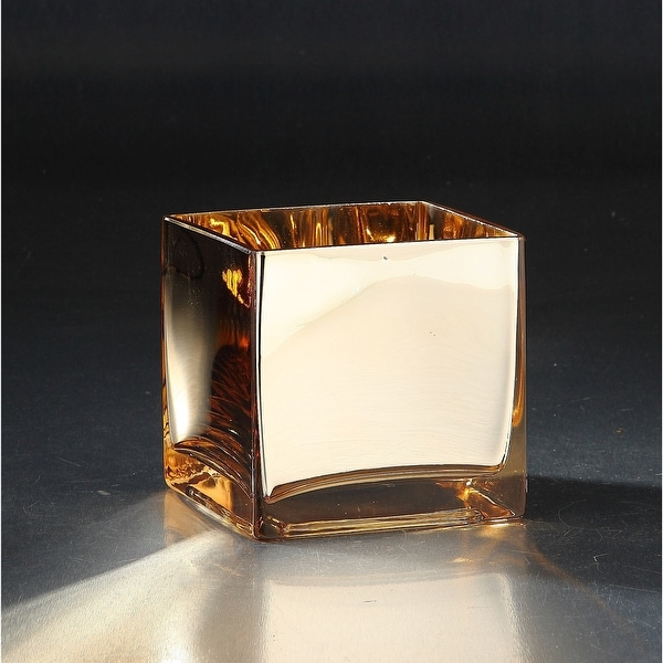 """4.5"""" Gold Colored Glass Square Flower Vase - N/A"""