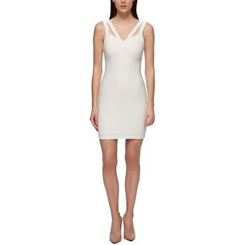 GUESS Studded Scuba Bodycon Dress White - 14