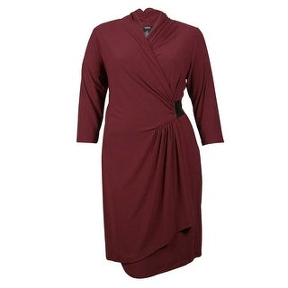 Alfani Women's Autumn Blush Faux Wrap Jersey Dress - new burgundy