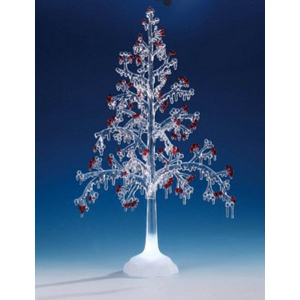 """Pack of 2 Icy Crystal Illuminated Christmas Red Berry Tree Figures 20"""" - CLEAR"""