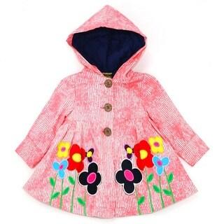 Maria Elena Little Girls Coral Stripe Flower Detail Button Hooded Coat