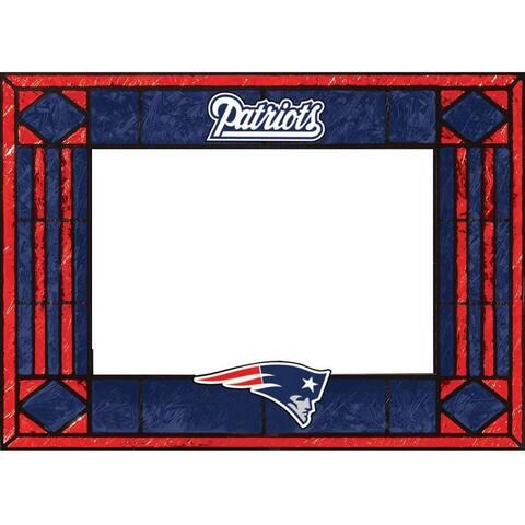New England Patriots Art Glass Horizontal Frame