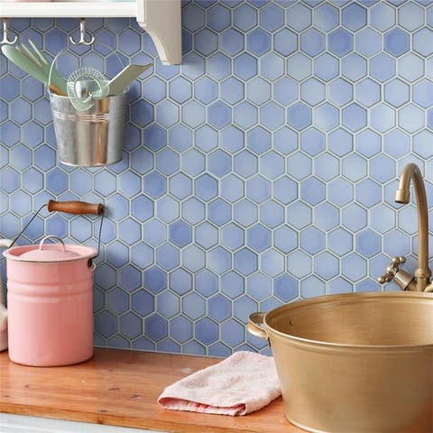 SomerTile Hudson Due 2 in. Hex Frost Blue 12-1/2 in. x 11-1/4 in. x 5mm Porcelain Mosaic Tile