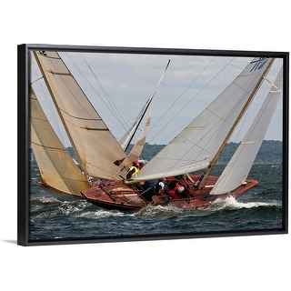 """Yachts sailing in 6 Metre World Championships, Newport, Rhode Island"" Black Float Frame Canvas Art"