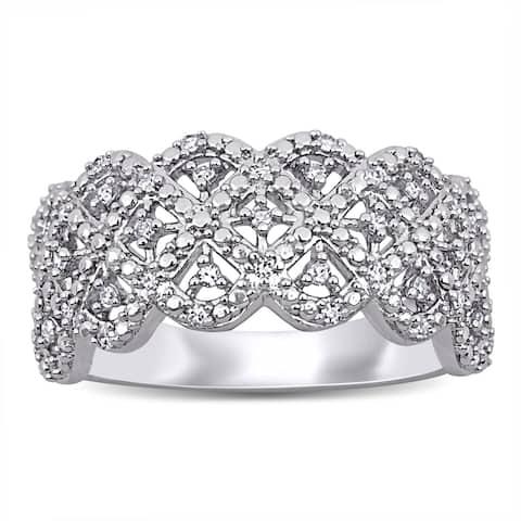 Miadora Sterling Silver 1/5ct TDW Diamond Interlaced Infinity Anniversary Band