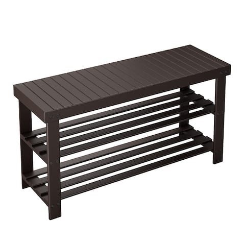 LANGRIA Large 3-Tier Shoe Bench Entryway, Shoes Rack Organizer Made of Sturdy