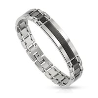 Center in Black IP Stainless Steel Bracelet  (12 mm) - 8.25 in