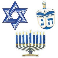 """Club Pack of 12 Blue, White and Gold Hanukkah Cutout Decorations 9.5"""" - Blue"""