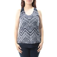 INC Womens Blue Chevron Sleeveless V Neck Top  Size: S
