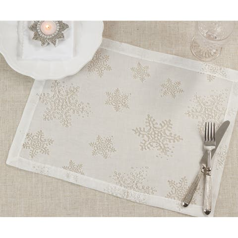 Holiday Placemats With Burnout Snowflake Design (Set of 4)