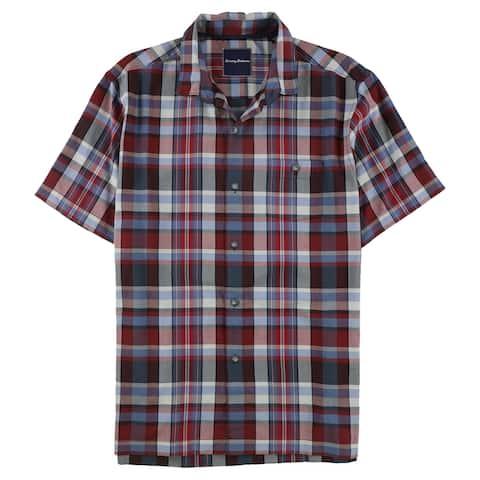 Tommy Bahama Mens Plaid Button Up Shirt, Red, Medium