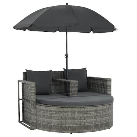 "vidaXL 2 Seater Garden Sofa with Cushions and Parasol Gray - 51.2"" x 22.8"" x 30.3"""