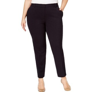 MICHAEL Michael Kors Womens Plus Miranda Pants Flat Front Elastic Waistband