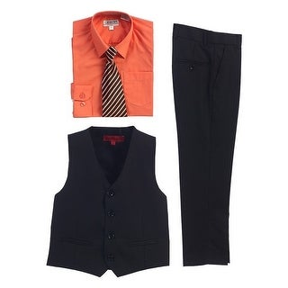 Gioberti Coral Black Vest Pants Striped Tie Shirt 4 Pc Formal Set