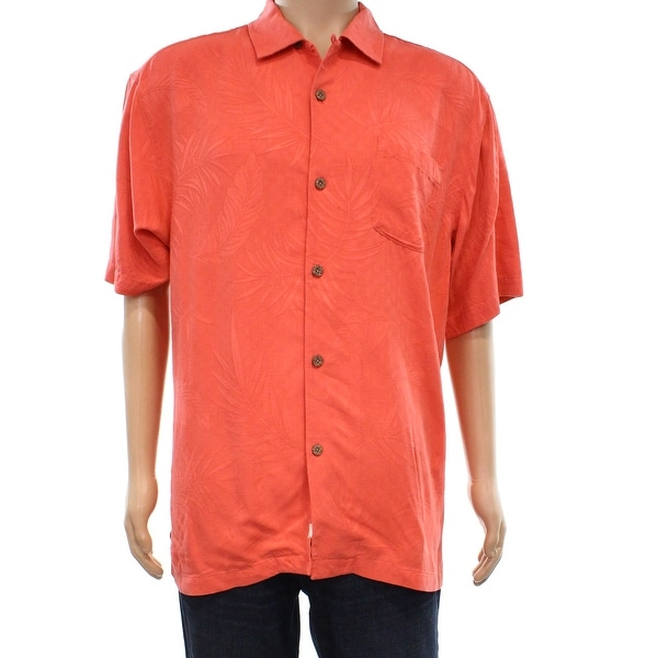 3b2c6ee9ae4c36 Shop Tommy Bahama Fusion Orange Mens Size Medium M Button Down Silk Shirt -  Free Shipping Today - Overstock - 22399745