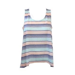 Alfani Aqua Multi Sleeveless Island Stripes High-Low Pajama Tank Top M