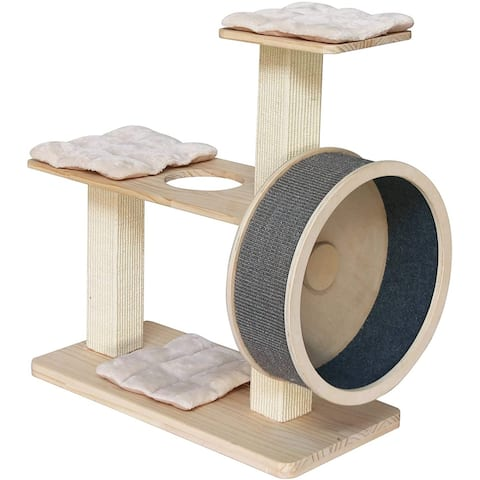 """Penn-Plax Spin Kitty Cat Tree with Built-In Wheel - 2 Tiers with 20"""" Diameter Wheel"""