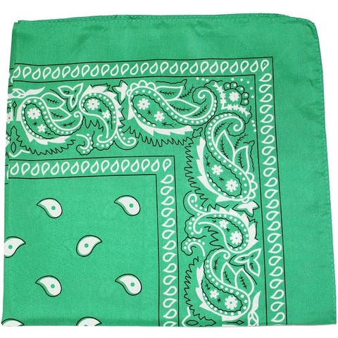 Pack of 5 X Large Paisley 100% Premium Cotton Double Sided Printed Bandana - 27 x 27 inches - One Size Fits Most