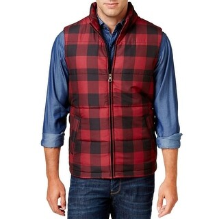 Weatherproof NEW Red Mens Size XL Plaid Full-Zip Mock-Neck Jacket