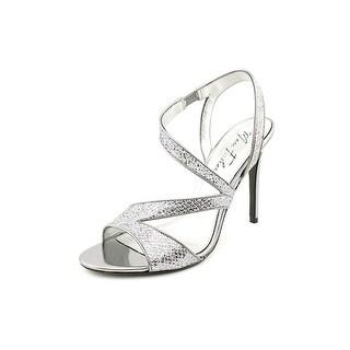 Marc Fisher Geena 4 Women Open-Toe Canvas Silver Heels
